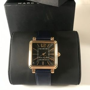 Marc Jacobs Vic Black Dial Navy Leather Watch